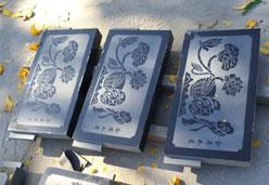 山西黑墓碑雕刻实拍图
